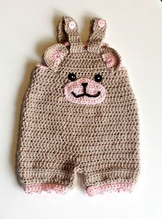 "Crochet baby ""bear face romper"". PICTURE ONLY. NO PATTERN"
