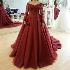 Lace Long Sleeves Burgundy Ball Gowns Evening Prom Dresses 2018