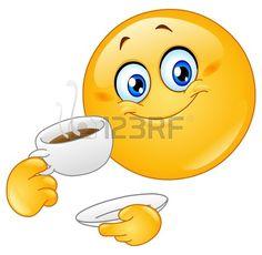 Emoticon drinken koffie Stockfoto