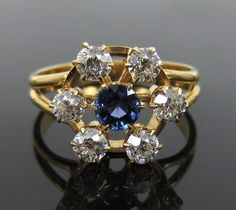 Antique 0.75ct Old Mine Cut Diamond & 0.30ct Sapphire 14K Gold Cluster Ring in Jewelry & Watches, Vintage & Antique Jewelry, Fine | eBay