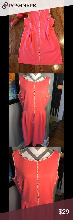 2fa1db30c4bf Apt 9 coral dress XL like new Beautiful bright coral dress with piping  detailing. A