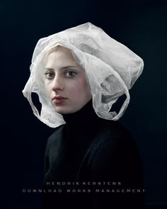 Photograph by Hendrik Kerstens. It looks like a painting by an old Dutch Master. It's really a photograph of a woman with a plastic bag on her head. Love it.