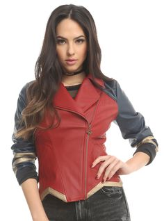 Her Universe DC Comics Wonder Woman Armor Faux Leather Jacket | Hot Topic