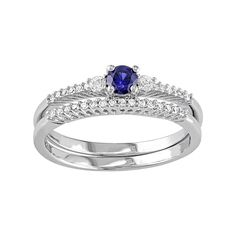Sterling Silver 1/10 Carat T.W. Diamond & Lab-Created Blue & White Sapphire Engagement Ring Set, Women's, Size: