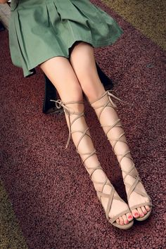 Bandage Lace Up Knee High Sandals Boots Tie Up Sandals, High Sandals, Women Sandals, Low Heel Shoes, Low Heels, Flat Gladiator Sandals, Lace Up Leggings, Crochet Sandals, Kitten Heel Sandals