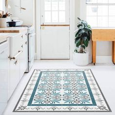 Kitchen Design Ideas: The 23 Hottest Kitchen Trends Right Now Vinyl Floor Mat, Vinyl Flooring, Floor Mats, Mediterranean Tile, Small Mats, Table Runner And Placemats, Table Runners, Industrial Restaurant, Antique Tiles