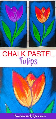 This Chalk Pastel Tulip Art Project is a great Spring Activity that kids will love to create! Kids will learn a resist technique, layering, and blending pastels to create a stunning piece of art. Spring Art Projects, Spring Crafts For Kids, Projects For Kids, Art Project For Kids, Kids Arts And Crafts, Chalk Pastel Art, Chalk Pastels, Chalk Art, Pastel Paper
