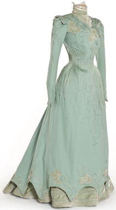 Dress by E. Coguenhem et Cie, Paris, 1898. Wool, silk velvet, satin appliqué.