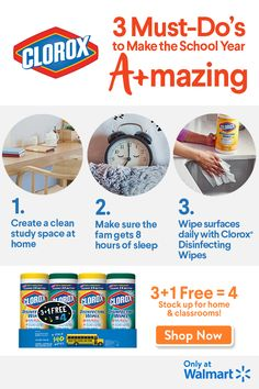 Getting ready for back to school? Let Clorox help. Check out these smart and simple to-dos and be sure to stock up on Clorox Disinfecting Wipes at Walmart. House Cleaning Checklist, Diy Home Cleaning, Cleaning Hacks, Cleaning Wipes, Cleaning Schedules, Classroom Pets, Cleaning With Bleach, Disinfecting Wipes, Baking Soda Uses