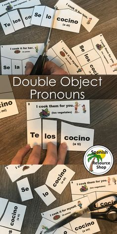 Double Object Pronouns Puzzles So much more fun than a worksheet! Really helps with understanding and stuents LOVE this!So much more fun than a worksheet! Really helps with understanding and stuents LOVE this! Spanish Grammar, Spanish Language Learning, Spanish Teacher, Teaching Spanish, Spanish Vocabulary, Teaching French, Spanish Worksheets, Spanish Games, Middle School Spanish