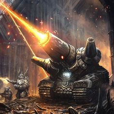 Squats fan art from 2014. #dwarfs #tank #illustration #art #concept #conceptart #scifi #scifiart #battle #lasers #wojtala