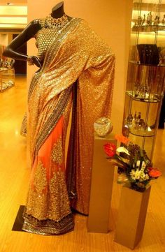 Sabyasachi Orange Gold Glitter Pallu #Saree.