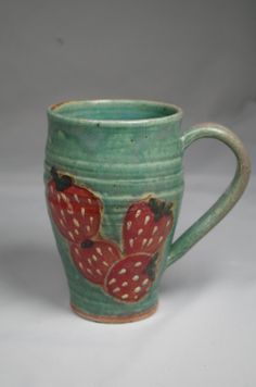 Strawberry Music Mugs Large 2 cups 16 by PotterybyBonnieHotz, $25.00