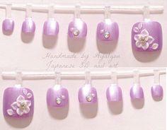 Toe nails 3D nails Japanese nail art lilac lavender by Aya1gou, $15.00