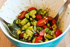 Kalyn's Kitchen®: Not-so-Dumb Salad Recipe with Cucumbers, Tomatoes, Onions, Avocado, and Balsamic Vinegar