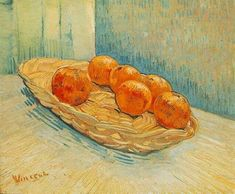 1888 Still Life with Basket and Six Oranges - Vincent van Gogh Paintings - 1888-89 Arles