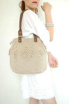 Beige Handbag Celebrity Style With Genuine Leather Straps / Handles shoulder bag-crochet bag-hand made