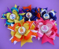 Backyardigans Gift Pack of FIVE Custom Bottle Cap Bows with Uniqua, Tyrone, Tasha, Austin, and Pablo. $34.00, via Etsy.