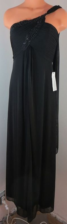 """NEW w/TAGS """"ALEX EVENINGS"""" LONG BLACK BEADED DRESS - PLEASE SEE ALL PICTURES #AlexEvenings"""