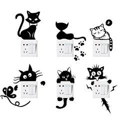 Foonii 6 Pezzi Interruttore Adesivi, DIY Removibili Impermeabile Camera da Letto Soggiorno Interruttore Spina Stickers Murali, Vinile Adesivi Decalcomanie Art Decorazione Murale Wall Stickers (Nero)