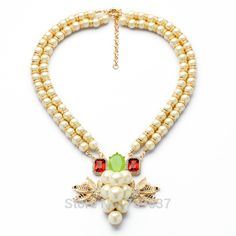 Fashion Wholesale Factory Price Luxury Jewelry Double Bead Chains  Simulated Pearl Wedding Necklaces