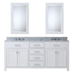"""Madison 72WCF 72"""" Double Sink Bathroom Vanity  2 Mirrors and Faucet with 4"""" Backsplash  1"""" White"""