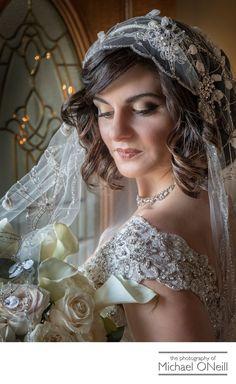 Michael ONeill Wedding Portrait Fine Art Photographer Long Island New York - Vintage Style Wedding Dress Headpiece Veil Photos