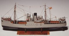 Ship model, Defensively Equipped Merchant Ship, miniature., 1942.This model is one of 5 miniature model ships made by Robert Klippel when serving in the Royal Australian Navy during WW11. Klippel is now regarded as one of Australia's greatest sculptors, and these ship models are highly significant as examples of his earliest work.