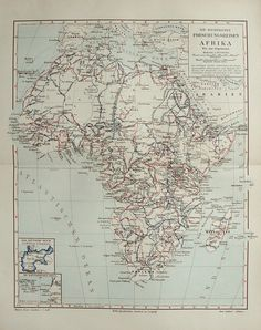 1897 Antique map of AFRICA: EXPLORATIONS and EXPEDITIONS.