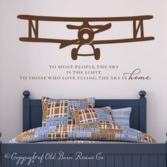 New Large Airplane Vinyl Wall Decal with flying quote via Etsy