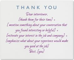 post interview thank you letter template What to write in a thank you note after an interview Interview Thank You Notes, Job Interview Questions, Job Interview Tips, Job Interviews, Interview Preparation, Letter After Interview, School Interview, Thank You Note Template, Job Help
