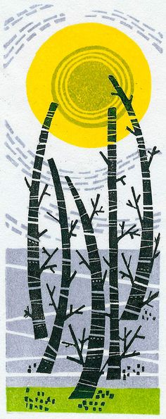 "Angie Lewin ""Five Trees"" wood engraving http://www.angielewin.co.uk/products/five-trees"