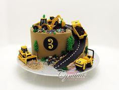 Construction site cake - Cake by Cynthia Jones Digger Birthday Cake, Digger Cake, Truck Birthday Cakes, 3rd Birthday, Birthday Ideas, Little Boy Cakes, Cakes For Boys, Excavator Cake, Cake Decorating Supplies
