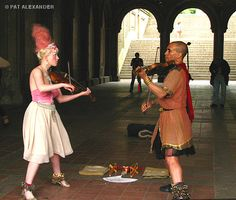 Street performers extraordinaire - they chant, twirl, sing, dance, jungle bells, play violins too.