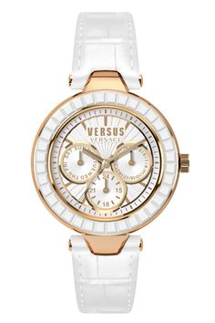 Versus Versace SOS030015 Sertie Multifunction Versus Versace, Casual Watches, Michael Kors Watch, White Leather, Jewlery, Lady, My Style, Ladies Watches, Accessories