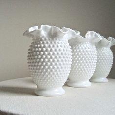 Hobnail Milk Glass Vases
