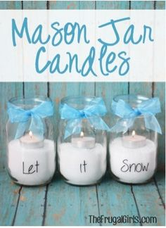 Mason Jar Let It Snow Candles