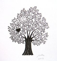 Print Original Illustration Woodland Love Birds Heart by mikaart, $9.99