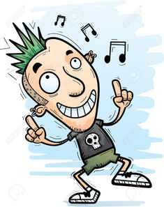 A Cartoon Illustration Of A Punk Dancing Sponsored