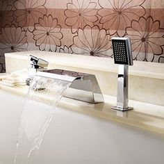YAJO Modern Bathroom Vessel Sink 2 Handles Widespread Waterfall Spout With  Pull Out Handheld Shower Head