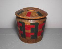 Vintage Wooden Box/Round Wooden Trinket Box/Round Box/Wooden Cicular Box/Wood Box/Wooden Decor/Round Trinket Box/Wooden Barrel/Red and Green by SukiandPolly on Etsy https://www.etsy.com/listing/295244137/vintage-wooden-boxround-wooden-trinket