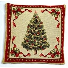 18x18in Christmas Tree Woven Tapestry Cushion Cover - UK Made
