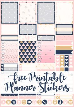 XOXO and heart themed free printable planner stickers with PNG file for Cricut