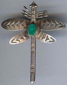 VINTAGE NAVAJO INDIAN STERLING SILVER TURQUOISE DRAGONFLY PIN