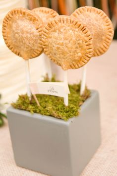 Pie pops are the perfect finger-food for a fall wedding. {Jennifer Baumann Photography}