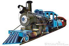 Imagem detalhada de locomotiva e pequeno vagão
