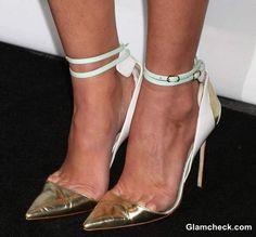 White & Gold Ankle-strap Stilettos
