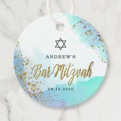 Blue And Gold Watercolor Star of David Bar Mitzvah Favor Tags - tap to personalize and get yours Bar Mitzvah Favors, Bar Mitzvah Invitations, Gold Watercolor, Brown Paper Packages, Star Of David, Gold Stars, Favor Tags, Paper Texture, Prints