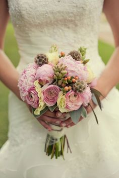 Luke + Anne - Brooke Courtney Photography / Pink Yellow Green Wedding / DIY / Summer Wedding / Bride Bouquet