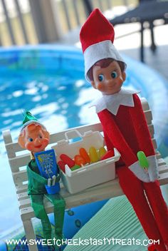 Christmas in July fun!!!!   Our former family elf comes to visit for the day